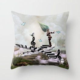 Dancing on a piano Throw Pillow