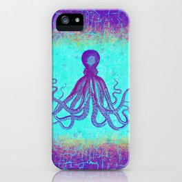 Grunge Octopus in Violet and Turquoise iPhone Case