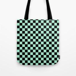 Black and Magic Mint Green Checkerboard Tote Bag