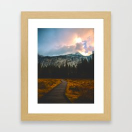 Path leading to Mountain Paradise Mountain Snow Capped Pine trees Tall Grass Sunrise Landscape Framed Art Print