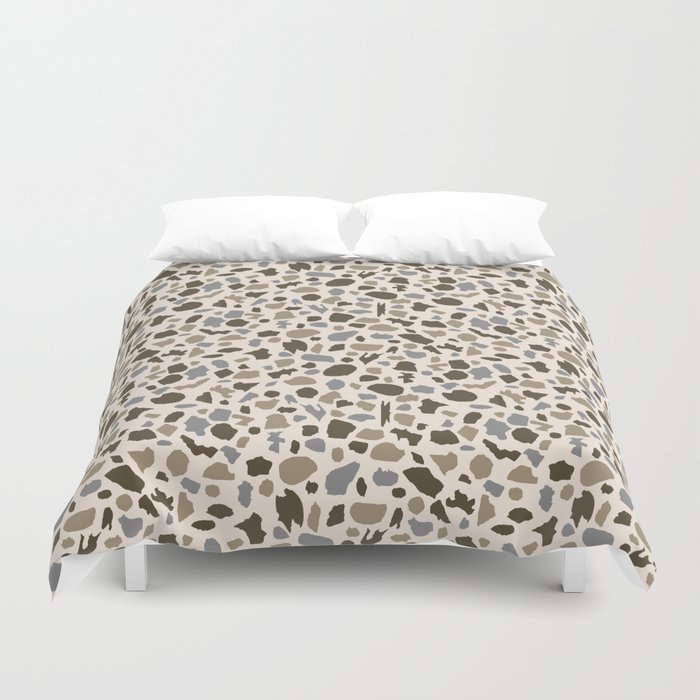 Terrazzo In Brown And Gray On Cream Duvet Cover