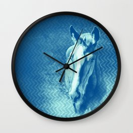 Horse emerging from the blue mist Wall Clock