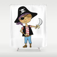 pirate Shower Curtains featuring Pirate by zadatagli