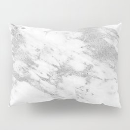 Marble - Silver and White Marble Pattern Pillow Sham