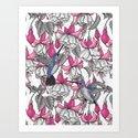 White fuchsia and hummingbirds by katerinamitkova