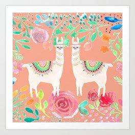 Llama in a floral frame Art Print