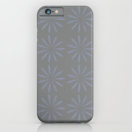 Blue Grey Floral Pattern iPhone Case