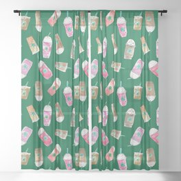 Coffee Crazy Toss in Green Sheer Curtain