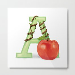 A is for Apple Metal Print