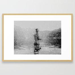 Alpine Snow Lake Nude Framed Art Print