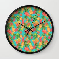 pineapples Wall Clocks featuring Pineapples by Laura Barnes