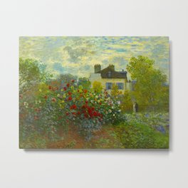 Claude Monet Impressionist Landscape Oil Painting A Corner of the Garden with Dahliass Metal Print