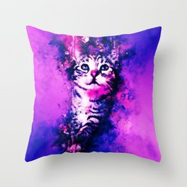 pianca baby cat kitten splatter watercolor purple pink Throw Pillow
