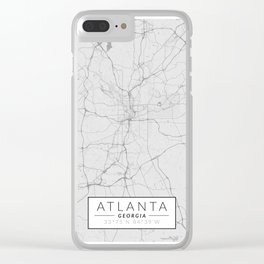 Atlanta Map - Black and White (Light) Clear iPhone Case