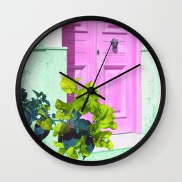 colorful door and flower Wall Clock