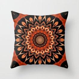 Boho Chic Rustic Orange Mandala Throw Pillow