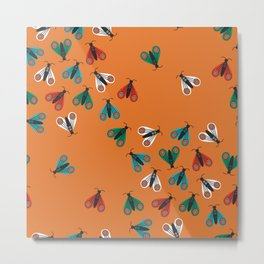 Colorful folk art moths invasion on orange background Metal Print