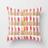lipstick Throw Pillows featuring Lipstick! by Bouffants and Broken Hearts