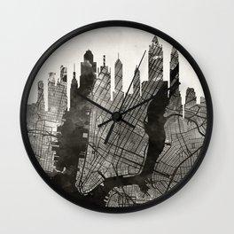 New York Skyline + Map #3 Wall Clock