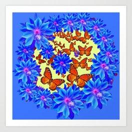 Orange Butterflies Blue  Floral Wreath art Art Print