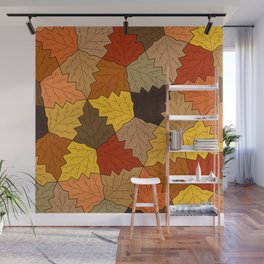 Autumn leaves pattern Wall Mural