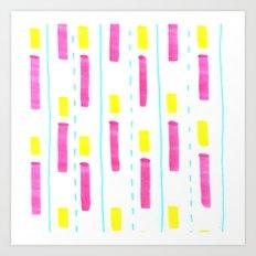 Pink and Lemon Stripes  Art Print