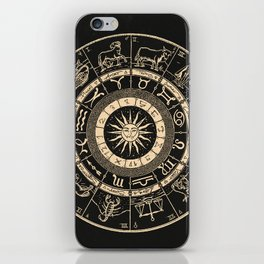 Vintage Zodiac & Astrology Chart | Charcoal & Gold iPhone Skin