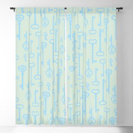 Victorian Pastel Turquoise Keys Blackout Curtain