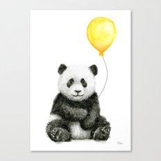 Panda Watercolor Animal with Yellow Balloon Nursery Baby Animals Canvas Print