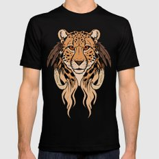 Tribal Cheetah Black LARGE Mens Fitted Tee