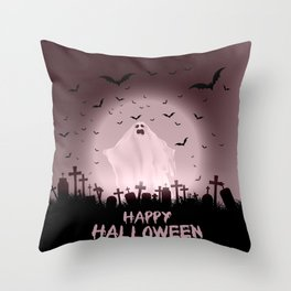 Halloween landscape with ghostly figure and haunted cemetery Throw Pillow