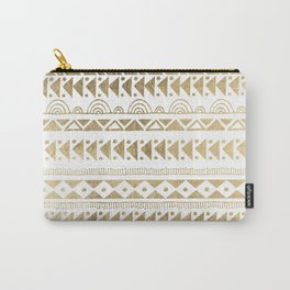 Boho Ethnic faux gold white aztec elegant geometrical Carry-All Pouch