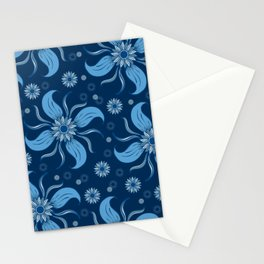 Floral Obscura Dark Blue Stationery Cards