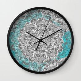 Turquoise & White Mandalas on Grey Wall Clock