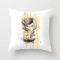 doll Throw Pillows featuring doll by cryselypunto