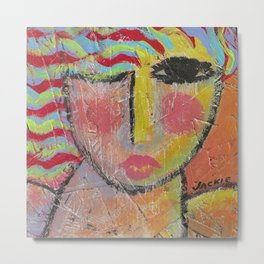 Abstract Portrait of a Woman On Wood Metal Print