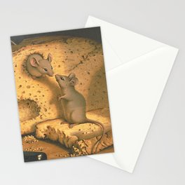 Vintage Cute Mouse Raid Eating Bread  Stationery Cards