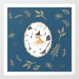 Blue Magical Fox Art Print