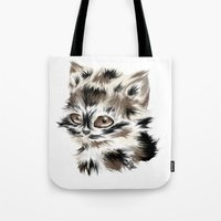 kitty Tote Bags featuring Kitty by quackso