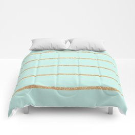 Modern pastel green faux gold glitter stripes pattern Comforters