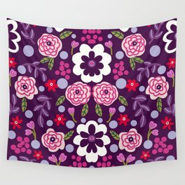 Lavender Retro flowers Wall Tapestry