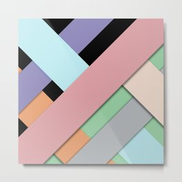 Lace Me | Girly Modern Fashion Pastel Stripes Color Blocks Metal Print