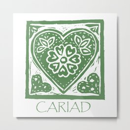 Cariad, darling sweetheart Welsh lino print green Metal Print