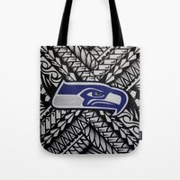 seahawks Tote Bags featuring Seahawks poly style by Lonica Photography & Poly Designs