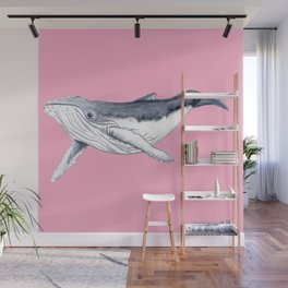 Cute Baby humpback whale pink for girls Wall Mural
