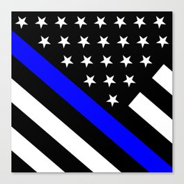 Police Flag: The Thin Blue Line Canvas Print