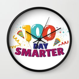 Happy 100th Day Of School 100 Days Smarter Wall Clock