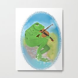 Frog playing violin Metal Print