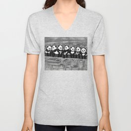 Panda Lunch Atop a Skyscraper - charcoal drawing Unisex V-Neck