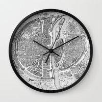 map Wall Clocks featuring Paris map  by Le petit Archiviste